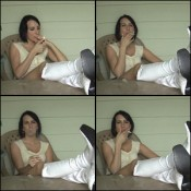 Lyndsey Smoking in White Knee-High Boots