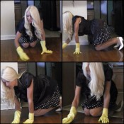 Brooke Scrubbing the Floor in Yellow Rubber Gloves