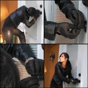 Hana Picking a Lock in Black Leather Driving Gloves