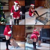 Vivian Vacuuming in Sexy Christmas Outfit