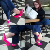 Scarlet Dangling Pink Pumps While Waiting on Food