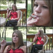 Elizabeth Smoking in a Corset & Leather Pants