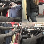 Cassandra Clothes Shopping in Black Leather Gloves